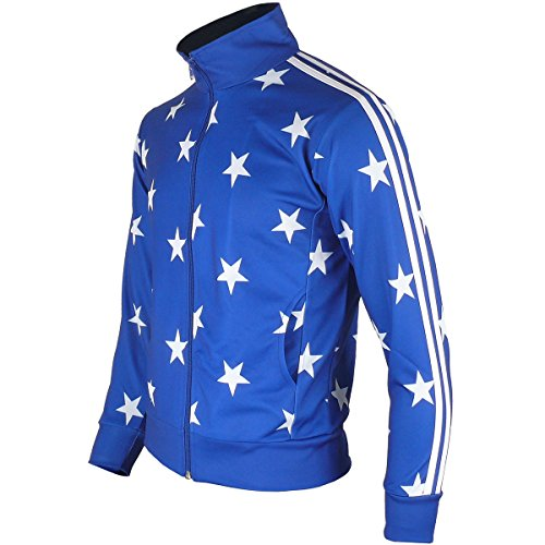 Suit Male Training (myglory77mall Men's Running Jogging Track Suit Warm Up Jacket Gym Training Wear S US(L Asian Tag) Blue Star)