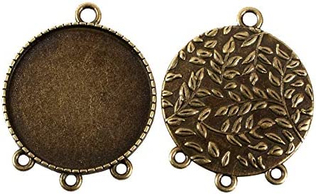 2 bronze setting tray pendant frames blanks for 14 mm round cabochons rhombus