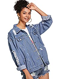 Womens Casual Ripped Plain Button Down Denim Jacket
