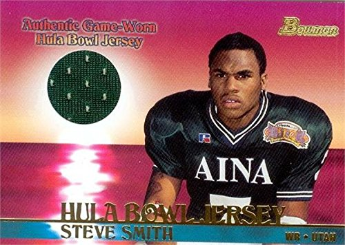 Autograph Warehouse 343178 Steve Smith Sr. Player Worn Jersey Patch Football Card - Utah44; Panthers 2001 Bowman Hula Bowl No. BJSS Rookie - Steve Smith Autograph