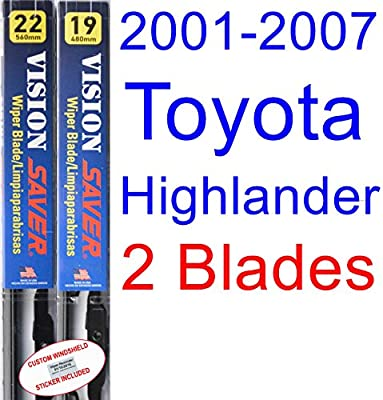 Amazon.com: 2001-2007 Toyota Highlander Replacement Wiper Blade Set/Kit (Set of 2 Blades) (Saver Automotive Products-Vision Saver) (2002,2003,2004,2005 ...