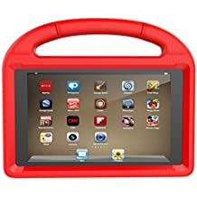 ThreeJ F i r e H D 8 case, Light Weight Shock Proof Portable Handle Soft Foam Case [Kickstand Kids Friendly] for F i r e H D 8 Tablet(7th Gen / 6th Gen, 2017/2016 Realease) (Red)