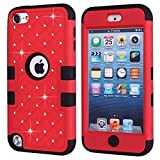 ipod touch ebay - iPod Touch 5 Generation Case,Touch 5 Case,Lantier [Crystal Bling][Diamond Design][Soft Hard Tough Case] Hybrid Armor Case Cover for Apple iPod Touch 5 Red/Black
