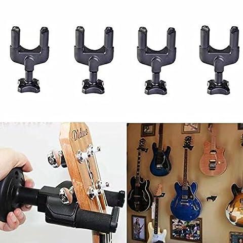 HonsCreat 4Pcs Guitar Hanger Auto Lock Rack Hook Stand Holder Keeper Wall Mount Bracket Home Studio Display Fits All Size Guitar Acoustic Bass, Mandolin, Banjo Easy Installation Compact Plastic (Traveler Guitar Custom)