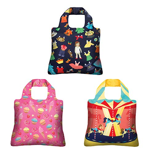 - Reusable Grocery Bags- Set of 3 Cute Retro-Designs, Envirosax Foldable Quality Shopping Tote Bag, Eco-Friendly Polyester, Waterproof and Machine Washable. For Travel, Shopping, Arts, Crafts, Multi use