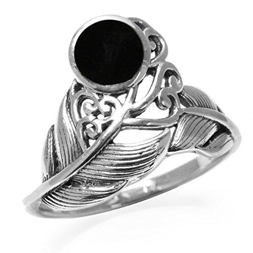 Victorian Onyx (Created Black Onyx 925 Sterling Silver Feather Victorian Style Ring Size)