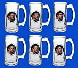 Set Of 6 Barack Obama Commemorative Beer Mug Glasses Steins - In Stock, Ships Right Away