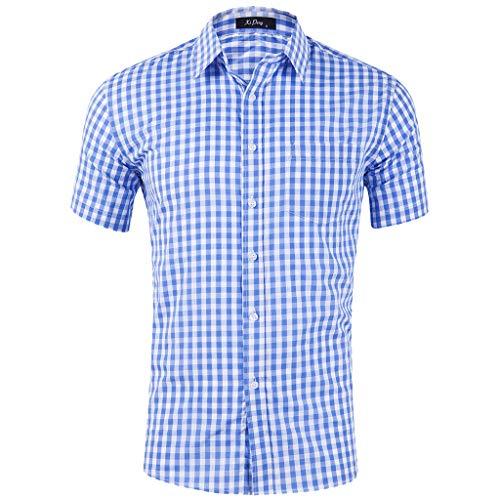 Men's Short Sleeve Casual Regular Fit Poplin Western Plaid Press Buttons Shirt Light Blue