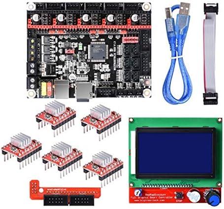 LWQJP 3Dプリンタ用12864 LCDディスプレイSKR V1.3 32ビットSmoothieboardメインボード+ 5xA4988キット