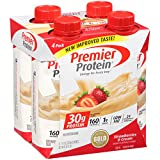 Premier Protein 30g Protein Shakes (Pack of 4) Strawberry, 1g sugar, 5g carbs, Low Fat, 24 Vitamins & minerals