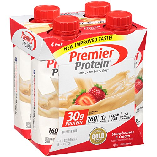 Premier Protein 30g Protein Shake, Strawberries & Cream, 11 fl oz Bottle, (4 Count)