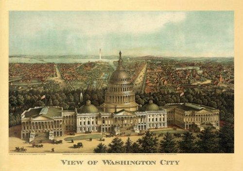Vintage View of Washington D.C. Capitol Building. Travel, Office Art! Horizontal 20