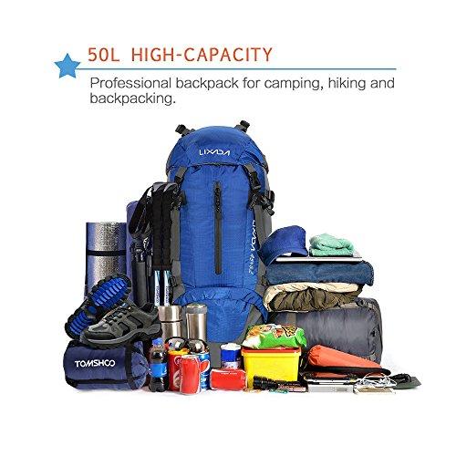 Lixada Mochila de Senderismo 50L con Cubierta Impermeable Mochila de Marcha Trekking Camping Deporte al Aire Libre (Azul): Amazon.es: Deportes y aire libre