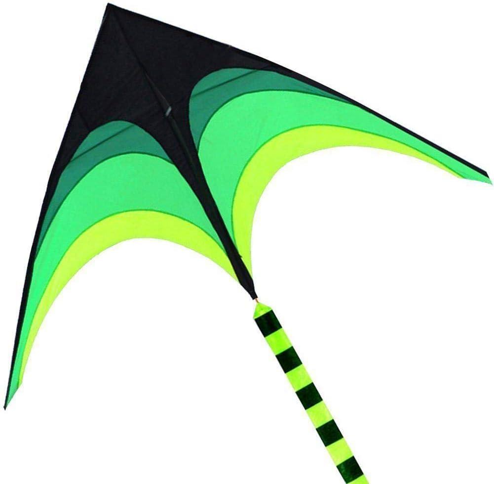 Cometa Triangular con Patr/ón De Pradera De 2M Juguete Ideal con Cola Flotante Negra Y Verde De 10M para Ni/ños Y Adultos FORYOURS Cometa para Ni/ños