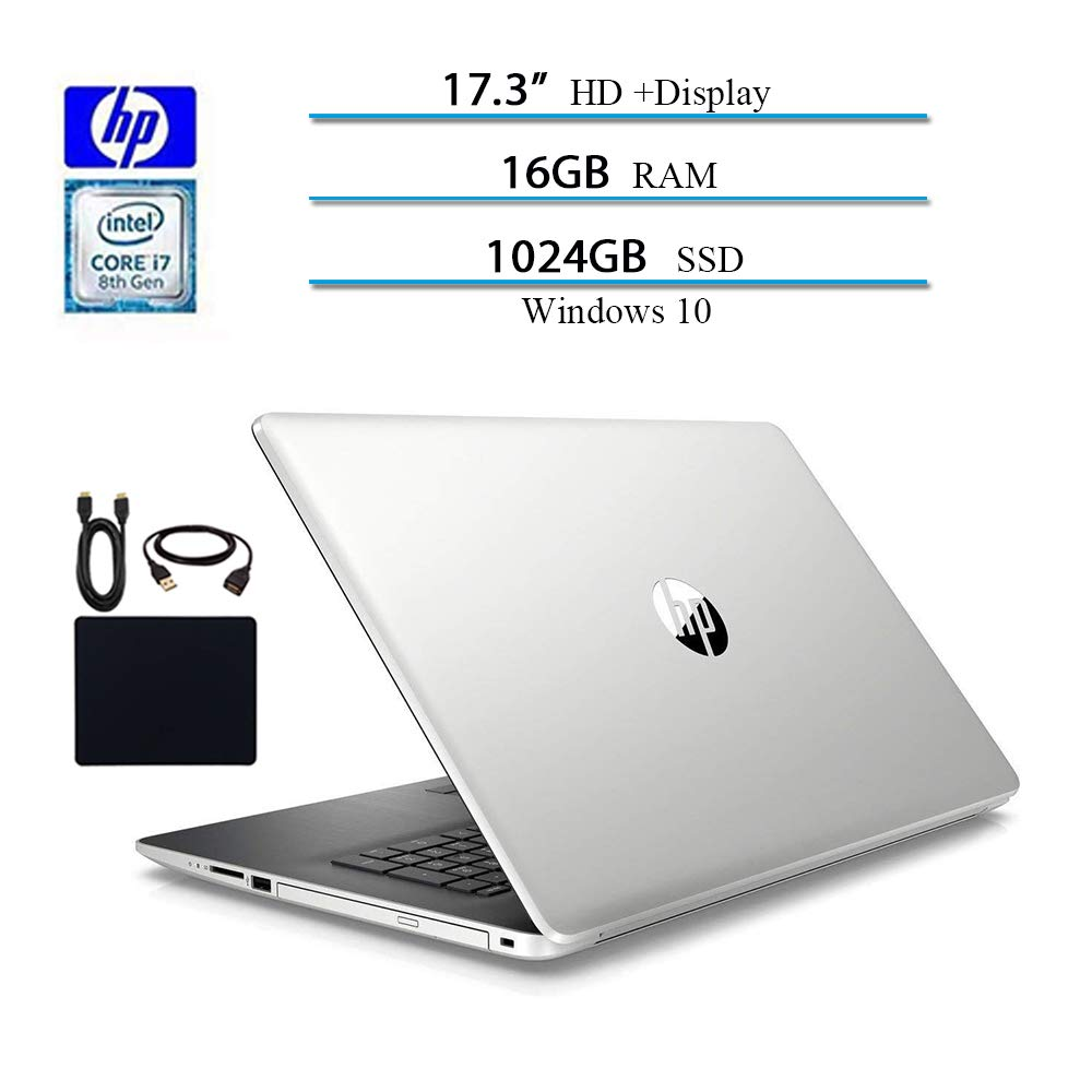 2019 Newest HP. 17.3 Inches Laptop Business Notebook Computer, Intel Quad Core i7-8550U Processor, 16GB RAM, 1TB SSD 16GB Optane, Sliver, DVD Driver, GbE LAN, Webcam, Windows 10 W Accessories