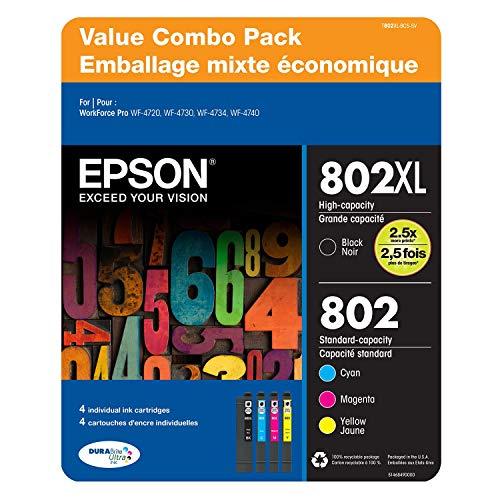 Epson 802 XLBlack 802 Standard Color Ink 4 Piece Value Pack DURABrite Ultra