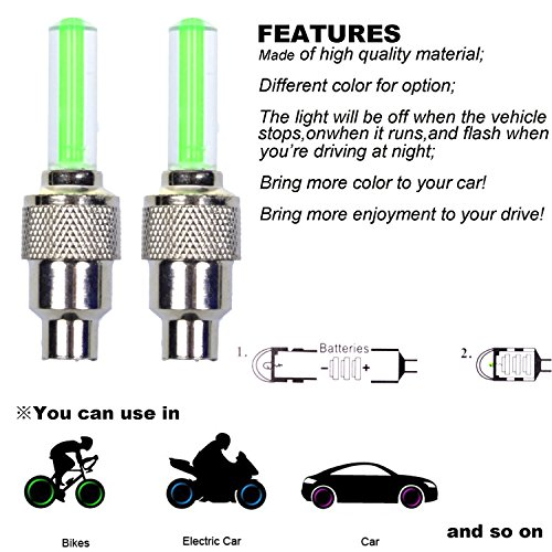 Buy led tire valve caps for cars
