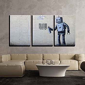 """wall26 - 3 Piece Canvas Wall Art - Robot Spray Paint Barcode - Street Art Guerilla Banksy Street Artwork - Modern Home Decor Stretched and Framed Ready to Hang - 16""""x24""""x3 Panels"""