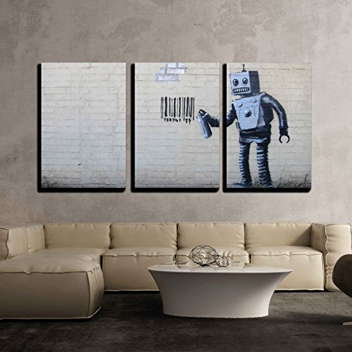 "wall26 - 3 Piece Canvas Wall Art - Robot Spray Paint Barcode - Street Art Guerilla Banksy Street Artwork - Modern Home Decor Stretched and Framed Ready to Hang - 16""x24""x3 Panels"