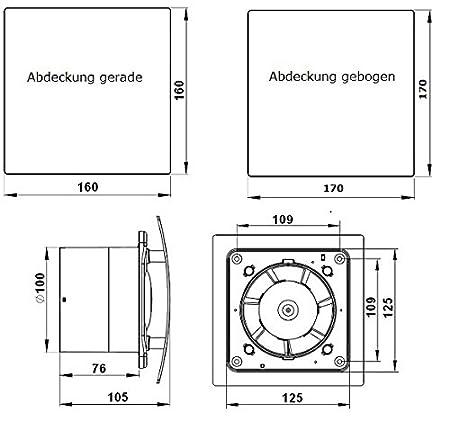 MKK STARLIGHT Leiser Badventilator Wohnrauml/üfter Kugellager R/ückstauklappe Nachlauf /Ø 125 mm wei/ß matt gerade 18187-011