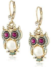 """""""Pearl Critters"""" Owl Drop Earrings"""