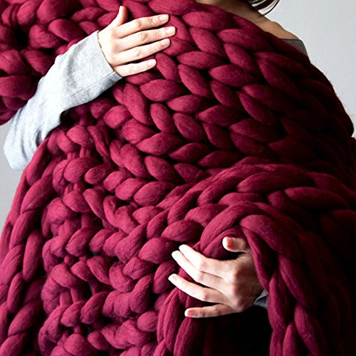 Chunky Giant Knit Throw Blanket Bulky Knit Hand-woven Bulky Blanket Home Decor Gift (79x79inch, Wine Red) Giants Woven Polyester