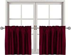 Home Queen Faux Silk Curtains Tiers for Bathroom Window Curtains, Rod Pocket Kitchen Curtains, Cafe Drapes, 2 Panels, 30 W X 36 L Inch , Burgundy