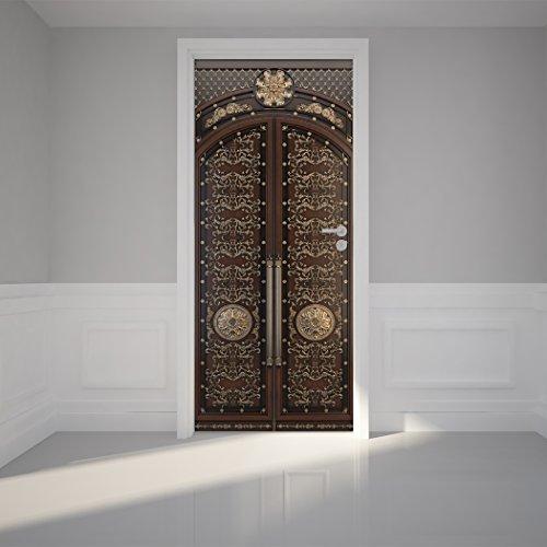 Door Wall Sticker Classic Door Zenon - Peel \u0026 Stick Repositionable Fabric Mural 31\ w x 79\ h (80 x 200cm) & Door Wrap: Amazon.com