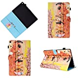 Uliking Folio Case for All-New Amazon Fire HD 10 Tablet (7th Generation, 2017 Release & 5th Gen, 2015), PU Leather with Auto Wake/Sleep Card Stylus Slot Stand TPU Cover for Fire HD 10.1'', Cute Cats