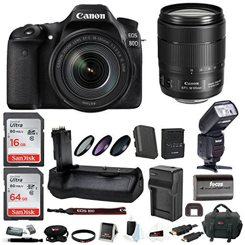 Canon EOS 80D Digital Camera: 24 Megapixel 1080p HD Video DSLR Bundle with 18-135mm USM Lens 80GB Battery Grip TTL Flash Filters Travel Charger and More - Professional Vlogging Sports & Action Cameras -  ACAN80D18135K2