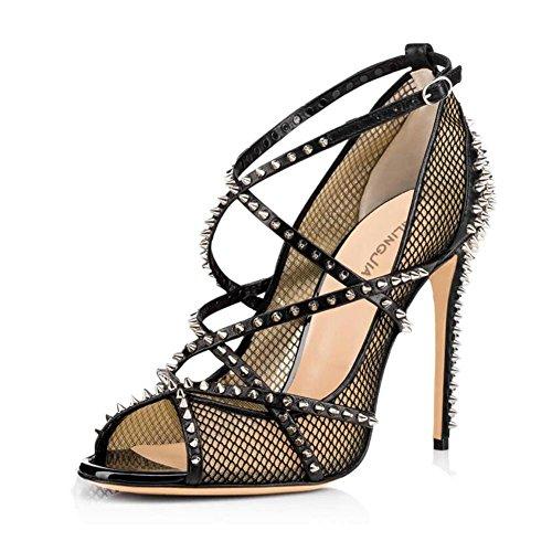 Chaussures Hauts Svhs L Rivets Noir Pêche Bouche Femmes Poisson Couleur Noir Des De Simples Filet Talons De Jaune Nude Sandales pZx0dq8Zr