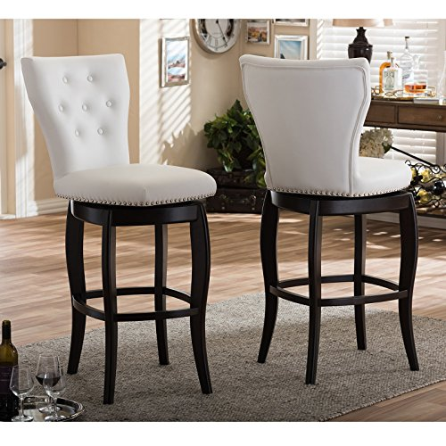 , Set of 2, Classic Yet Bold Design, Sturdy and Durable, Flared Legs and Luxurious Faux Leather Padded Upholstery, Tufted Back and Nail Head Trim, White + Expert Guide ()