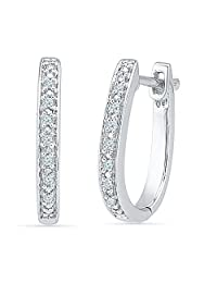 Sterling Silver White Round Diamond Hoop Earring (0.04 Cttw)