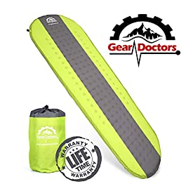 Gear Doctors Self Inflating Sleeping Pad – 4.3 R Four Season Camping pad-1.5 Inch Thick Air Foam Hybrid- Perfect Size…