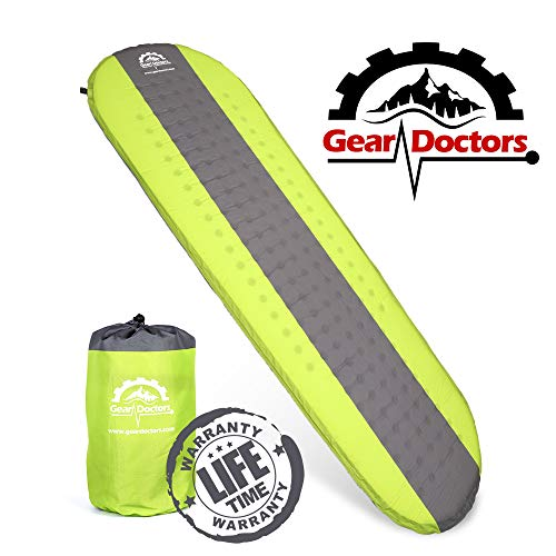 (Gear Doctors- Self Inflating Sleeping Pad - Ultra Lightweight Foam Filling 1.5-inch Thick Mat Perfect Size Mattress for Camping Backpacking Travel with Insulation for Cold Winters)