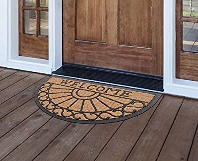 MILLIARD Decorative Half Round Heavy Duty Coco Fiber Outdoor Entrance 'Welcome' Doormat - 18in.x30in.
