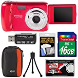 Vivitar ViviCam VXX14 Selfie Digital Camera (Red) with 16GB Card + Case + Tripod + Reader + Kit
