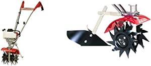 Mantis 7940 4-Cycle Gas Powered Cultivator, red & 3333 Power Tiller Plow Attachment for Gardening