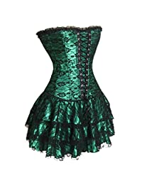 Lace Corset Dress Strapless Sexy Bustier Top Gothic Skirt for Women