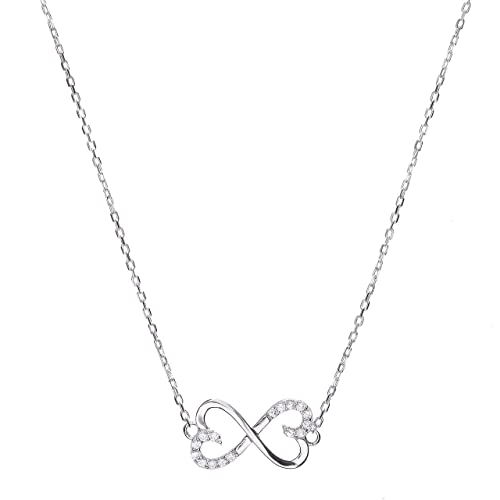 26f91016f1 Image Unavailable. Image not available for. Color: Sterling Silver CZ  Infinity Heart Pendant ...