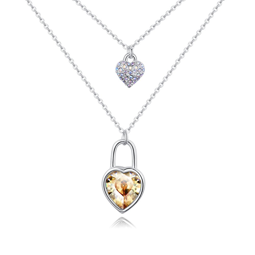 Sharefashion Heart Lock Shape Boutique Crystal Pendant Necklace (Crystal Golden Shadow)