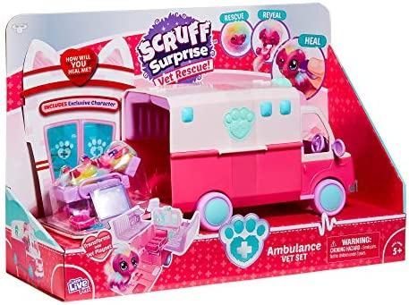 Little Live Pets Scruff-a-Luvs Surprise Vet Rescue - Ambulance Vet Set with a Doctor's Bed