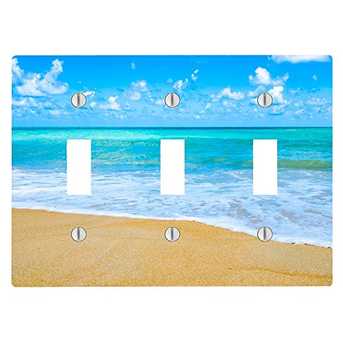 (Tropical Caribbean Beach Ocean Water 3 Toggle Electrical Switch Wall Plate (6.56 x 4.69in))
