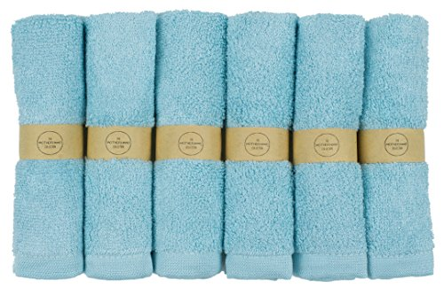 """The Motherhood Collection 6 ULTRA SOFT Baby Bath Washcloths, 100% Natural Bamboo Towels, Blue, Perfect for Sensitive Baby Skin, 6 Pack 10""""x10"""" (Blue)"""