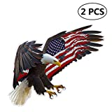 Big Ant 2 Pieces Bald Eagle American Flag Car Motorcycle Bicycle Skateboard Laptop Luggage Vinyl Sticker American Flag Decal Sticker 6 x 5 inch Reflective Car Window Bumper Stickers