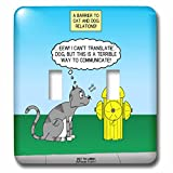 3dRose Rich Diesslins Funny Out to Lunch Cartoons - Cat Fire Hydrant Issue a commentary on Dog communication methods - Light Switch Covers - double toggle switch (lsp_260996_2)