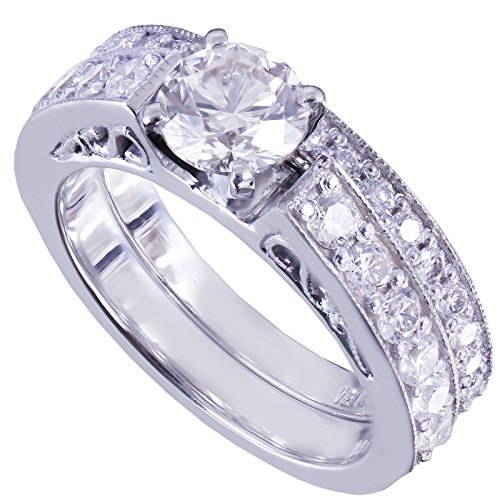 GIA H-SI1 14k White Gold Round Cut Diamond Engagement Ring And Band 1.45ctw