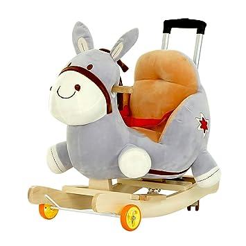 Silla mecedora Caballo Mecedora Rocking Horse Putter Rueda Universal Trojan Música para niños Bebé Educación temprana Juguetes educativos 60 * 28 * 60 cm ...