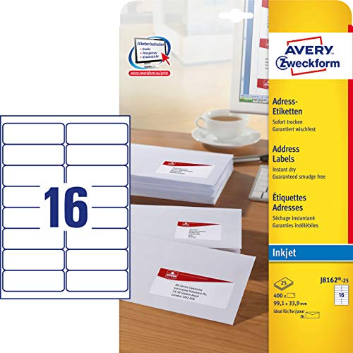 Avery Zweckform J8162-25 Address A4 Matt Paper Pack of 400 Labels 99.1 x 33.9 mm 25 Sheets White ()