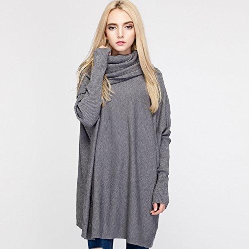 XIU Tejido Gris Sweater F RONG Chica Polo Suelto Cuello gray rfar5qw